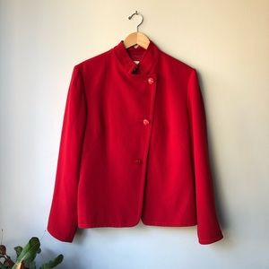 Neiman Marcus Exclusive Mandarin Collar Red Blazer